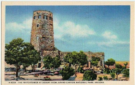 Desert View Watchtower postcard. Mary Colter's Desert View Watchtower.