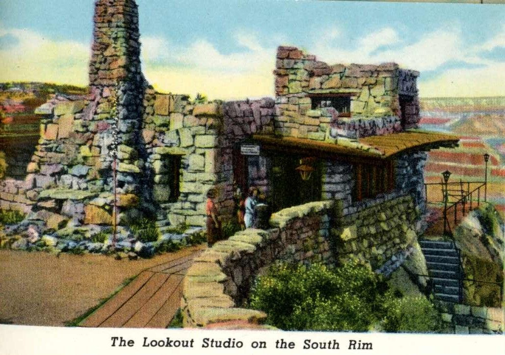 Lookout Studio postcard. Mary Colter's Lookout Studio.