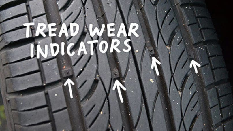 Car tyres tread wear indicators